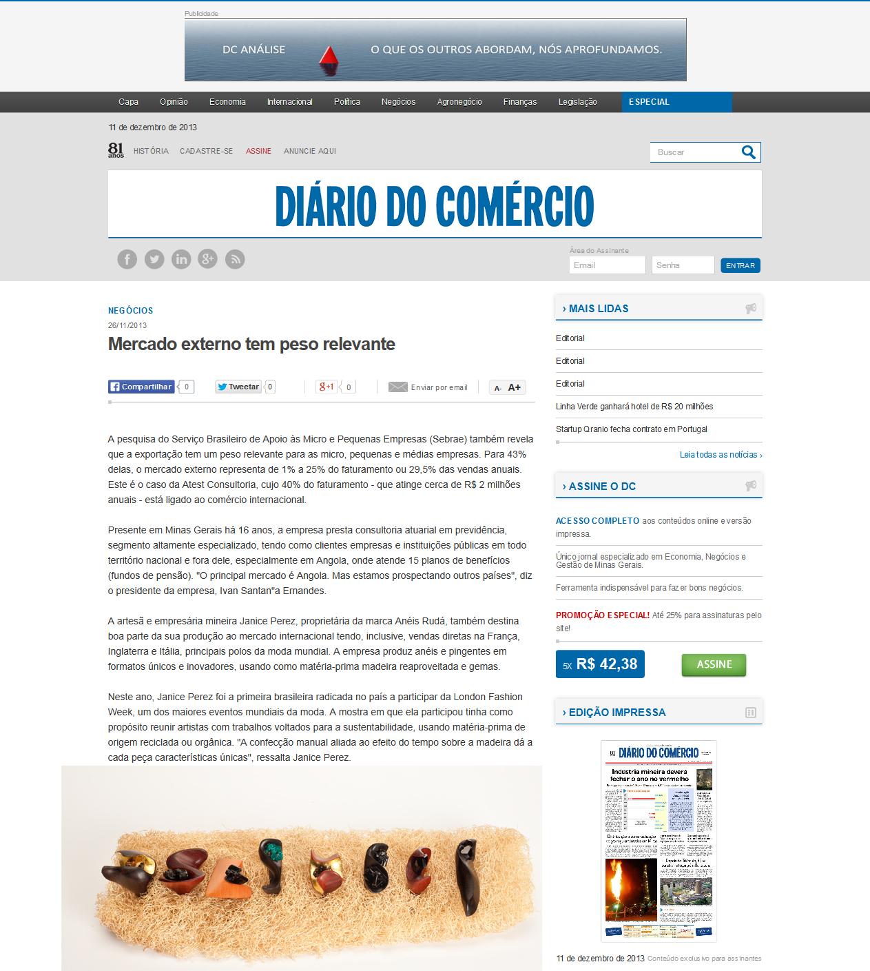 Mercado externo tem peso relevante » Negócios » Diário do Comércio - 2013-12-11_19.30