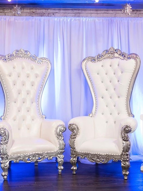 White And Silver Throne Chairs