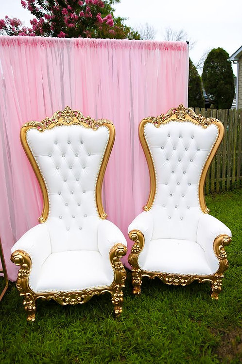 White And Gold Throne Chairs