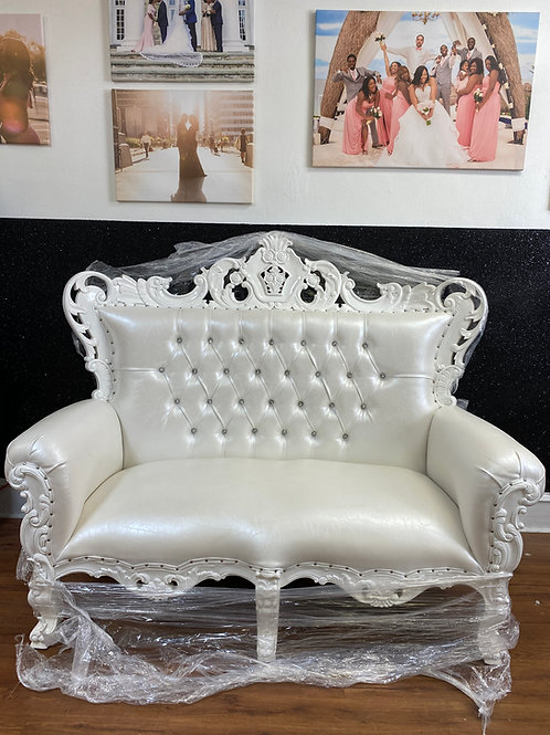 All White Love Seat Throne Chair