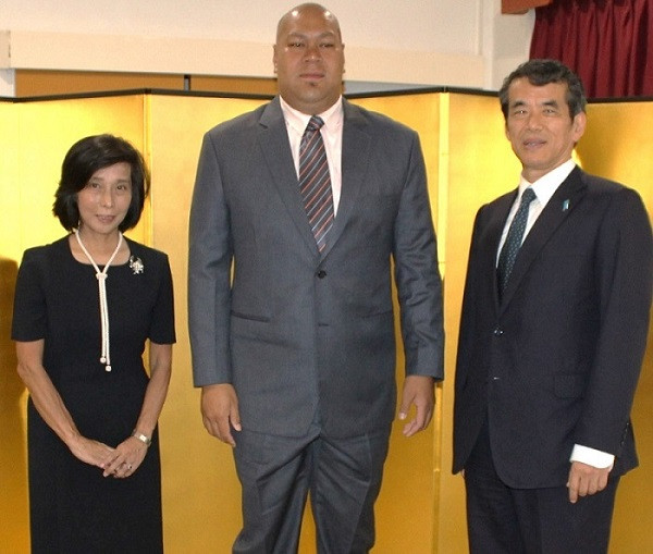 His Royal Highness Prince Ata with His Excellency Mr. MUNENAGA Kensaku and Mrs. MUNENAGA at the occasion to honour the 61st Birthday of His Majesty, Emperor Naruhito of Japan, in Nuku'alofa