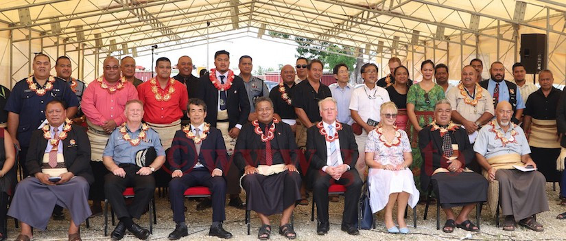 Minister for MEIDECC, the Honourable Poasi Mataele Tei, Australian High Commissioner to Tonga, His Excellency Mr Adrian Morrison, Diplomatic corps, Government and Non- Government CEOs, Senior Government Officials and guests after the event