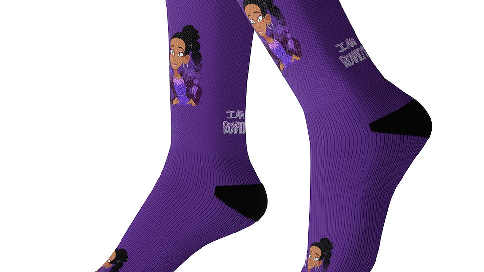 I AM ROYALTY Socks (Dark Purple)