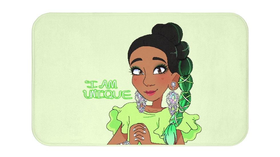 I AM UNIQUE Bath Mat (Lime Green)