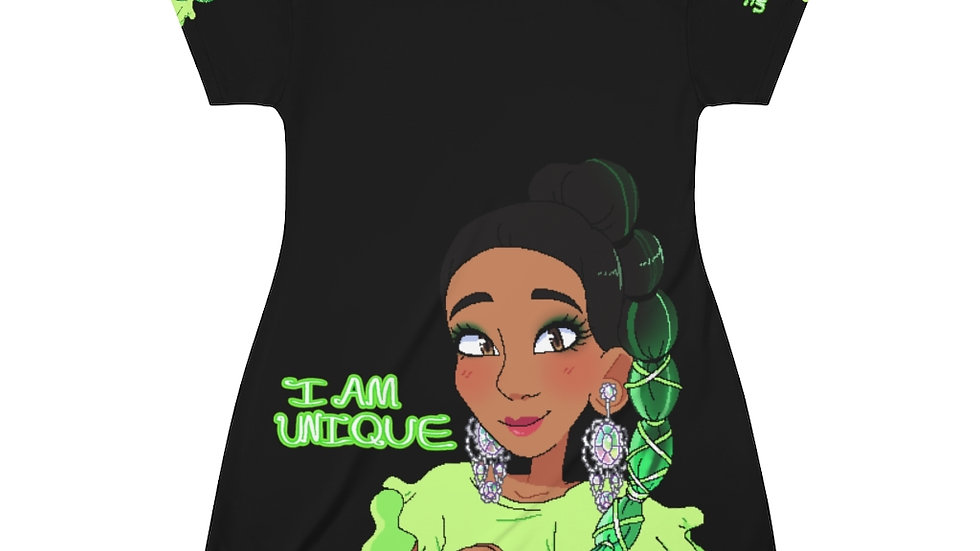 I AM UNIQUE Pajama Dress (Black)