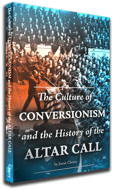 Custom designed cover for Jason Cherry's book The Culture of Conversionism and the History of the Altar Call. Billy Sunday preaching before he gives an altar call