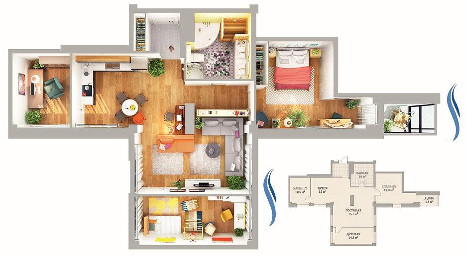 Варинт планировки в квартире 106 кв. м