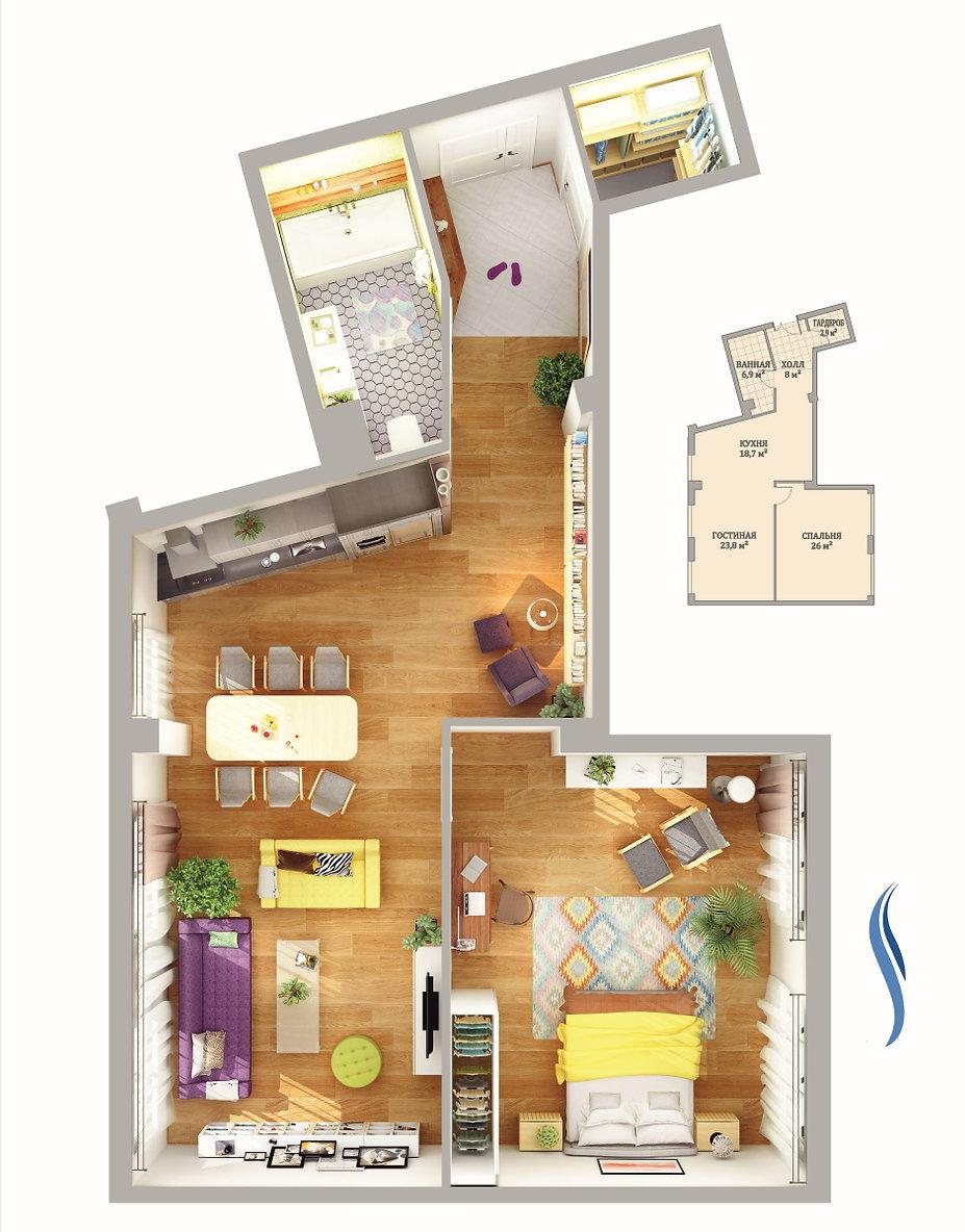 Планировка квартиры 86 кв. м на сайте ЖК Аквамарин
