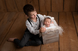 newborn and brother photo session bedford