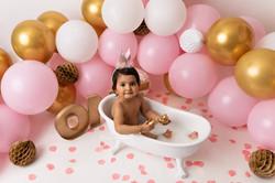 bathtub birthday photo in Bedford