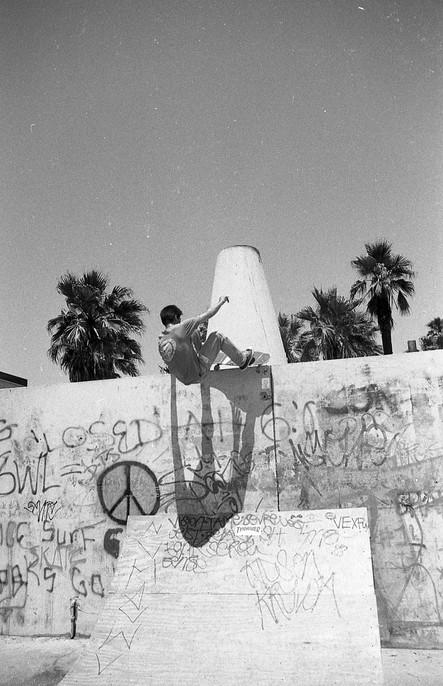 "Aaron ""Fingers"" Murray, micro edger and tons of vert. Venice Pavilion. Venice, CA. 1980'z"