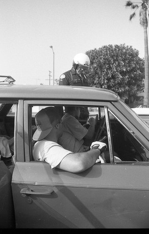 Jay Adams (RIP) and Chuck Katz. Small setback on the way to skate. Chuck is driving Jays car. Jay had a suspended license at the time. Venice, CA. 1980'z