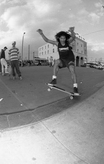Jef Hartsel, the H in Team THC, Windward Ave and Ocean Front Walk. Venice CA 1980'z