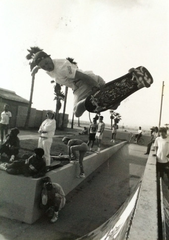 Erick Dressen aka Pony Boy. Steve Shelp lower left hand corner taking photos from the opposite angle. Venice, CA. 1980'z