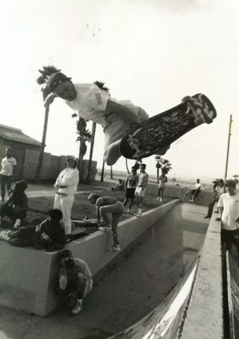 Erick Dressen aka Pony Boy. Steve Shelp lower left hand corner taking photos from the opposite angle. Venice, CA. 1980'z