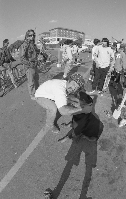 Legendary Venice Boy Kenny Morrow (RIP) and Gerog the Rot (RIP). Kenny is growling at Gerog, and Gerog is terrified of Kenny. The roles were reversed. The Bronze Age / Makaha Classic Skate Contest in Santa Monica, CA. 1980'z