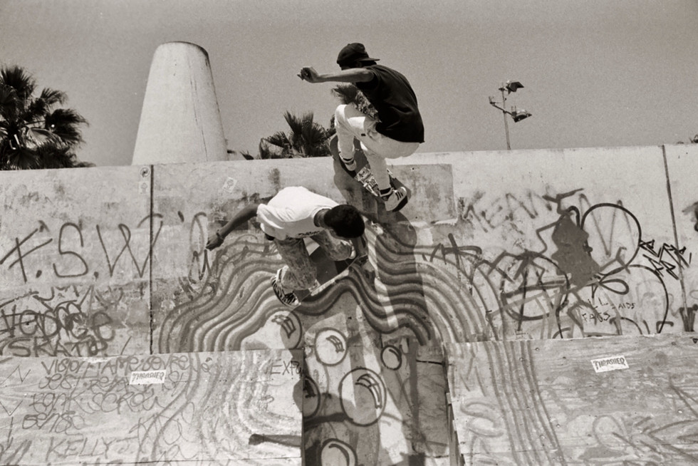 "Joey Vo-Tran and Eric ""Lil Man"" Garber skating the Venice Pavilion. Venice CA, 1980'z"