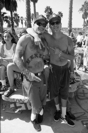 """Reed McCarty and Shawn """"Lefty"""" Lucero watching a local concert at the Venice Pavilion. Venice CA 1993"""