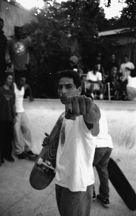 """Venice legend Jesse """"The Mess"""" Martinez, scraped, battered, and bruised, but never beat. One half of Team Pain. This is from another roll of film that I found in my closet this time it was in 2017. This roll is from 1994. It sat for 23 years. I had no idea what was on it untill I got it developed in 2017. It was an entire roll of a pool party in SM, CA. 1980'z"""