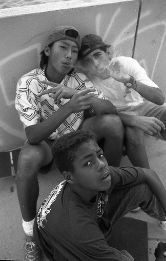 "Joey Tran-Vo, Eric ""Tuma"" Britton, Eric ""Lil Man"" Garber. CTB school of higher learning. Venice Break Water. Venice, CA. 1908'z"