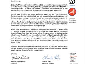 Asia Society Sends Appreciation Letter to ECC