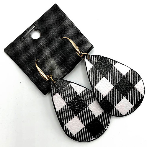 White Check Leather Earrings