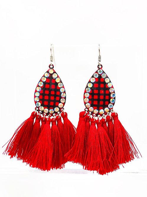 Red BuffaloCheck Earrings With Long Tassels