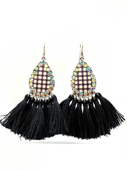 Black Check Earrings With Long Tassels