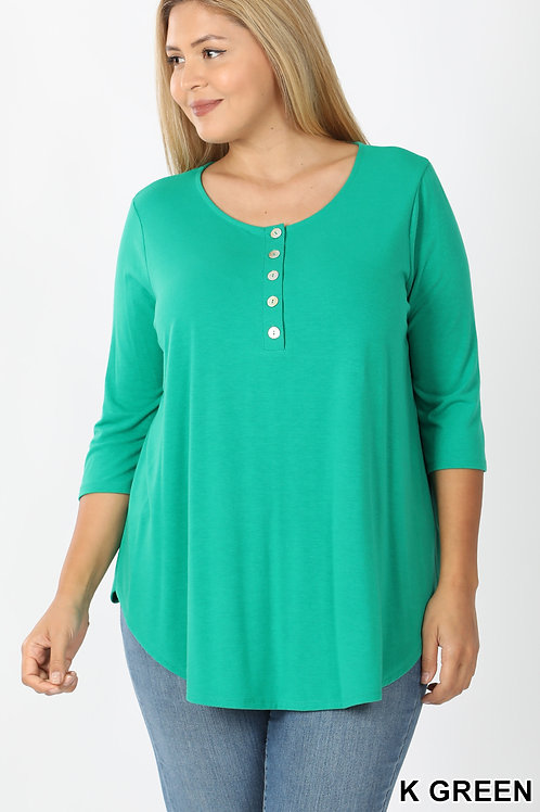 Plus Size 5 Button 3/4 Sleeve Top