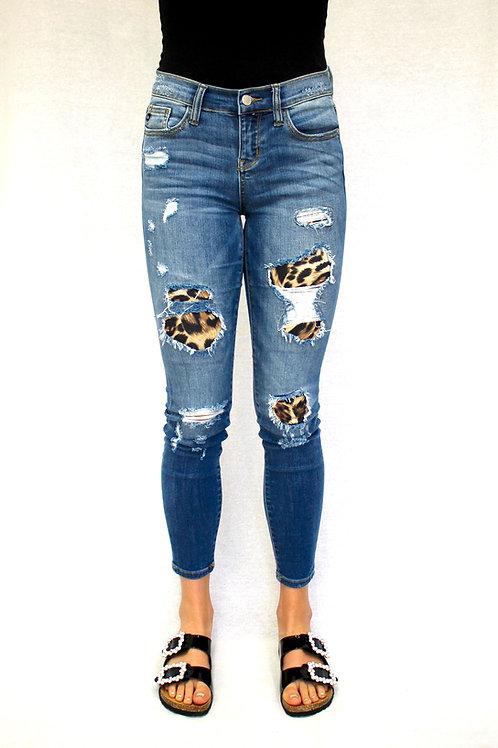 Judy Blue Leopard Patch Jeans