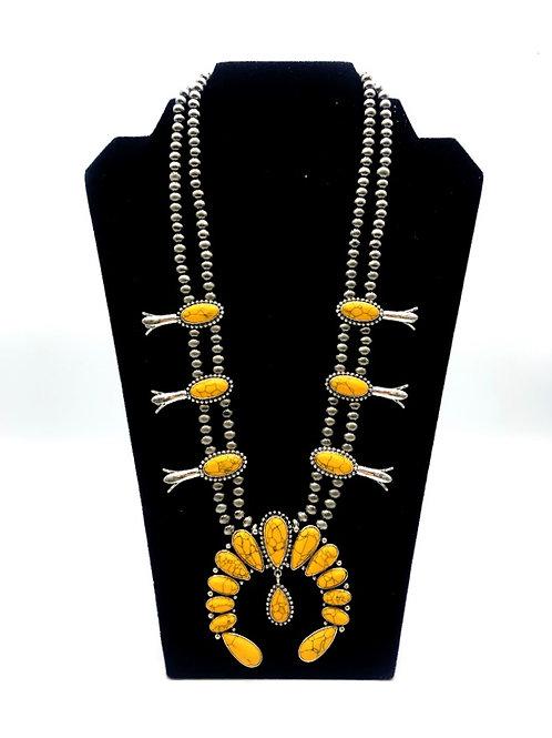 Mustard Squash Blossom Necklace