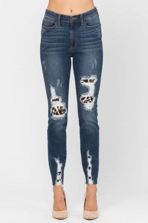 Judy Blue Leopard Patch Denim Style 82166