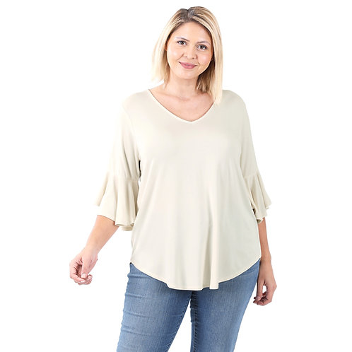 Bell Sleeve Solid Cream