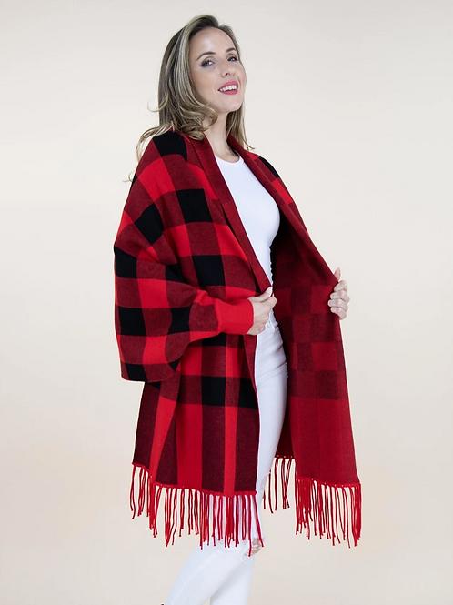 Buffalo Check Red Sweater Shawl
