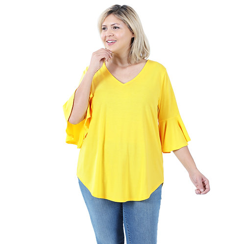 Bell Sleeve Solid Yellow