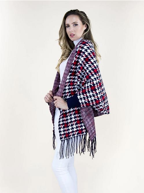 Patriotic Plaid Sweater Shawl