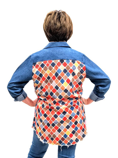 Satin Back Shirt, Quilt Print