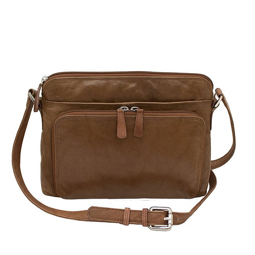 Genuine Leather Zip Top Organizer Bag
