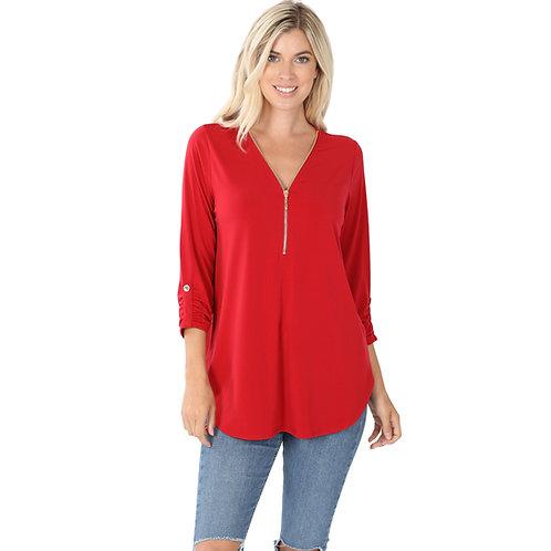 Zipper Neck Top Dark Red