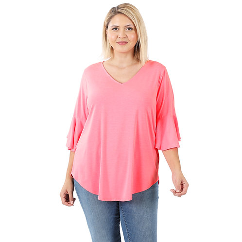 Bell Sleeve Solid Pink