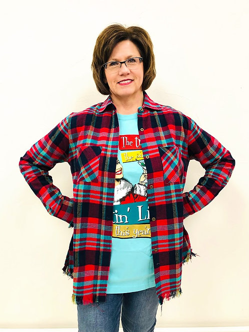 Turquoise And Red Flannel