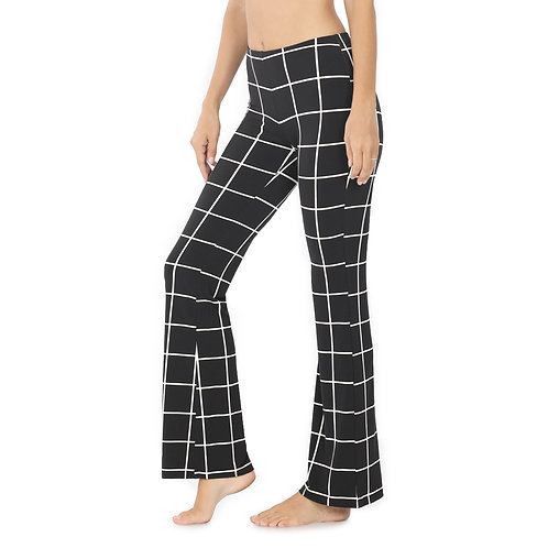 Silky Knit Checked Pants