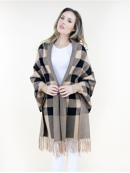 Black Brown Check Sweater Shawl