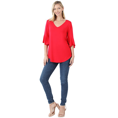 Bell Sleeve Solid Top Red