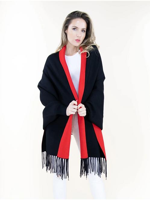 Red Black Sweater Shawl