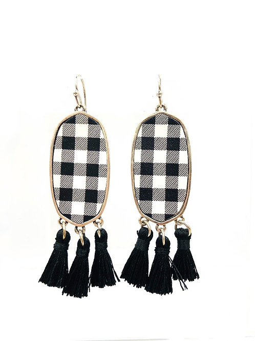 Buffalo Check Earrings in White