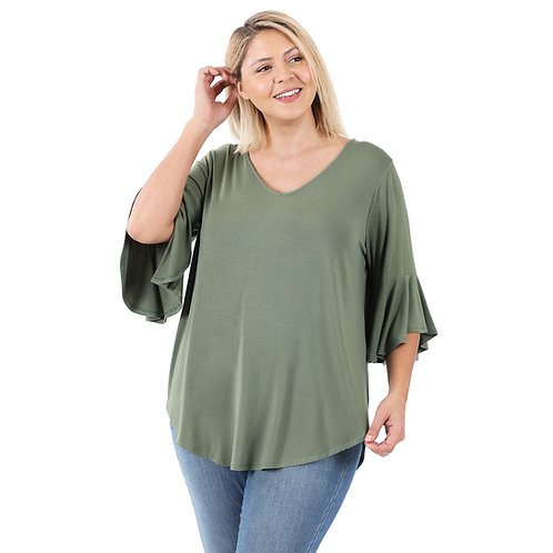 Bell Sleeve Solid Olive