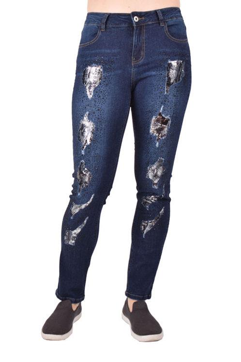 Ethyl Brand Sequin Patch Jean