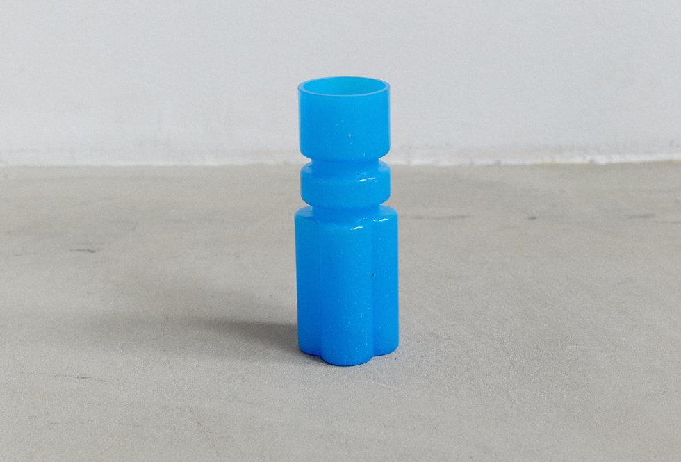 Sculptural blue glass vase