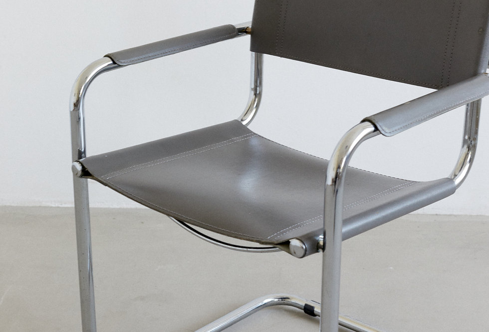 Matteo Grassi side chair, chrome and leather